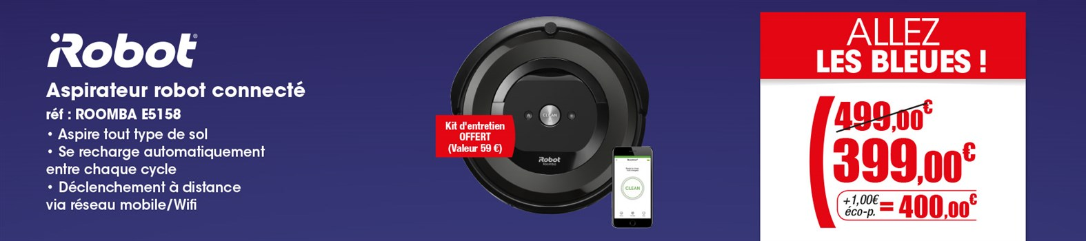 Aspirateur robot iRobot LOT ROOMBA E5158+4624878